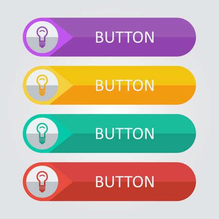 Botones planos del vector con el icono de la lámpara. Foto de archivo - 37023192