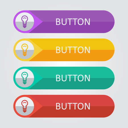 green button: Vector flat buttons with lamp icon. Illustration