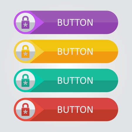 ベクトル ロック アイコンとフラットなボタン。