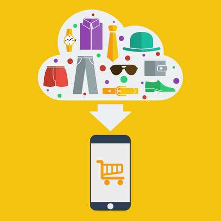 negozio: Vector mobile shopping uomo. Vettoriali