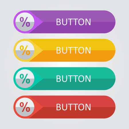Vector flat buttons with percentage icon Иллюстрация