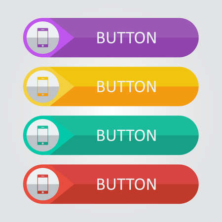 Vector flat buttons with smartphone icon.