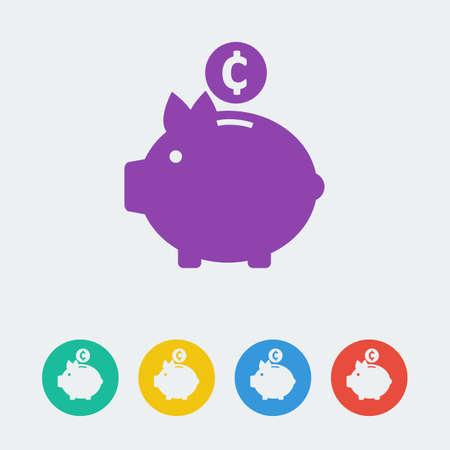 piggy bank: vector piggy bank flat circle icon. Illustration
