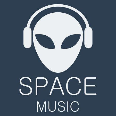 Vector alien in headphones on blue background.  Illustration