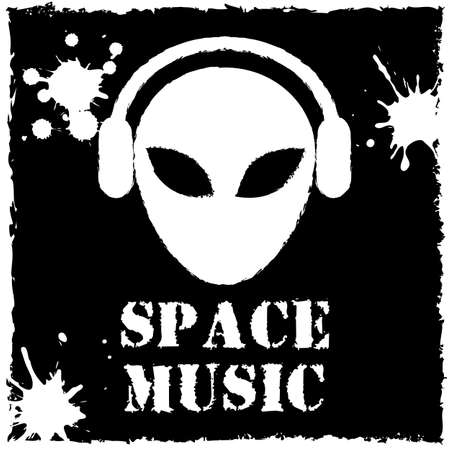 Vector alien space music on black background. Vector