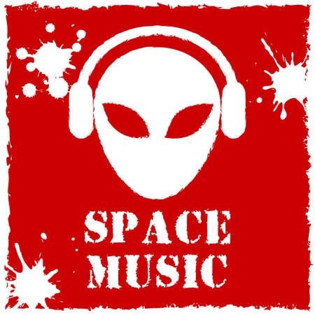 Vector alien space music on red background.  Vector