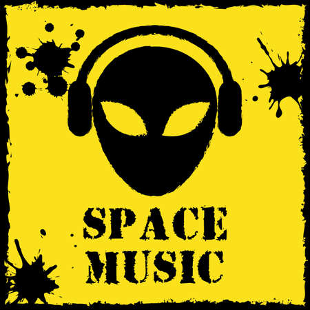 Vector alien space music logo on yellow background. File format eps 10 Vector