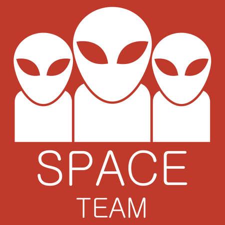 invader: Vector alien team on red background.