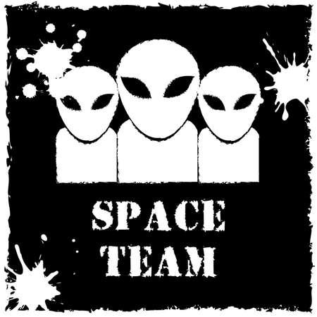 invader: Vector alien space team on black background.