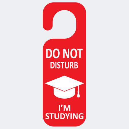 studing: Vector hotel tag do not disturb with studing cap icon.