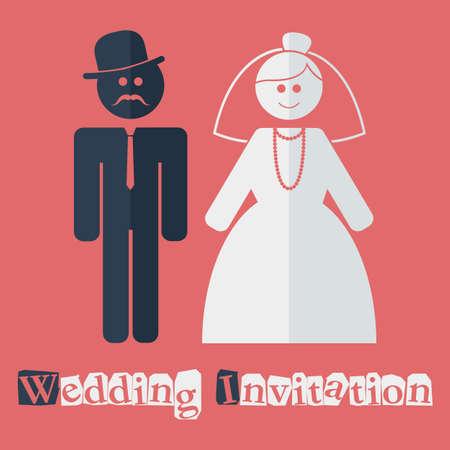 file format: Vector wedding invitation flat. File format