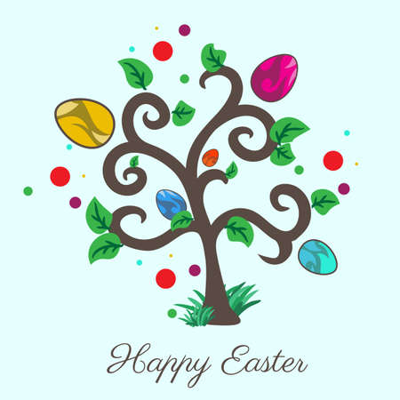 easter tree: Vector easter tree. Holiday card. Blue background. File format Illustration