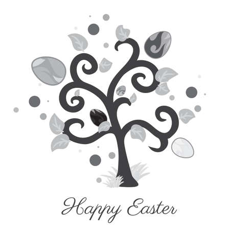 easter tree: Vector easter tree. Holiday card. Gray color. White background.