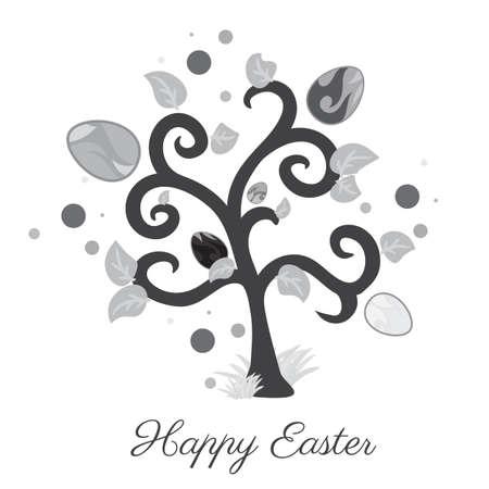 arbol de pascua: Vector Pascua �rbol. Tarjeta de vacaciones. Color gris. Fondo blanco. Vectores