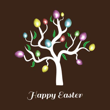 arbol de pascua: Vector �rbol de huevo de Pascua. Tarjeta de vacaciones. Fondo de Brown.