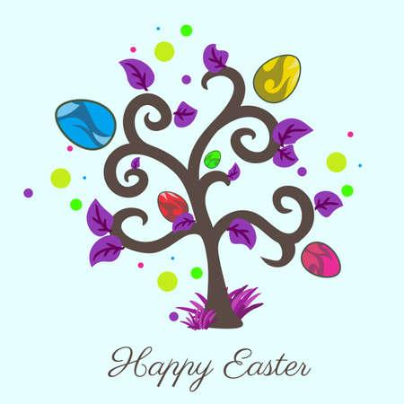 easter tree: Vector easter tree. Holiday card. Violet color. Blue background. Illustration