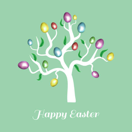 easter tree: Vector easter tree white. Holiday card.  Blue background. Illustration