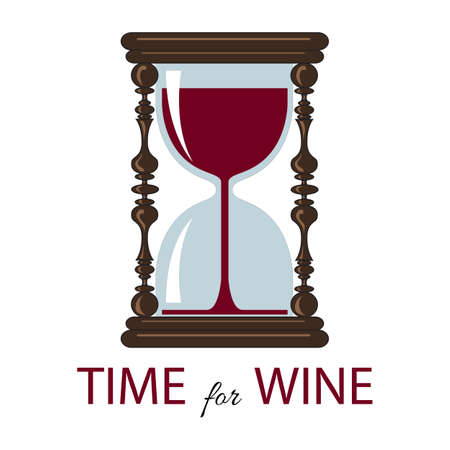 Vector time for wine.  Color card. Vintage hourglass.