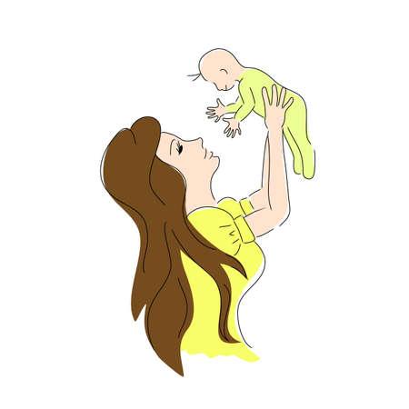 baby moeder: Vector moeder de baby kleur. Moeder dag kaart.