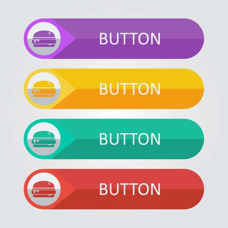 Vector burger flat buttons. File format eps 10. Vector