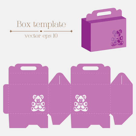 empty box: Vector box template. Violet bear. Format eps10.