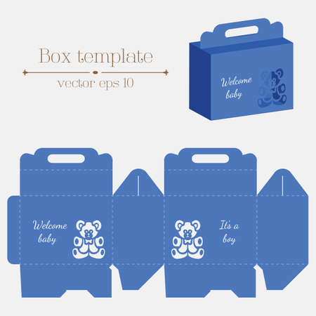 empty box: Vector box template. Baby bear. Its a boy. Format eps10. Illustration