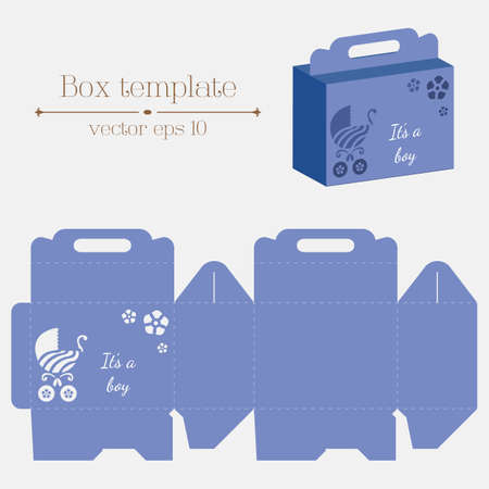 its a boy: Vector box template. Buggy flowers. Its a boy. Format eps10.
