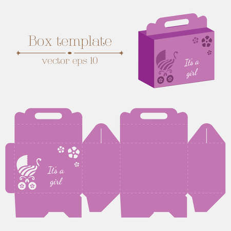 empty box: Vector box template. Buggy flowers. Its a girl. Format eps10. Illustration