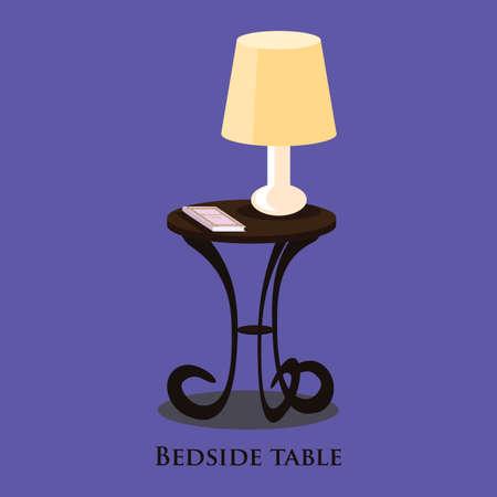 bedside: Vector bedside table. Blue background. Format eps10.