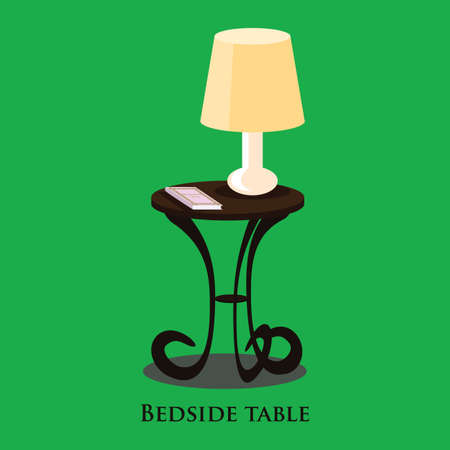 bedside: Vector bedside table. Green background. Format eps10.