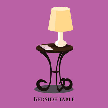 bedside: Vector bedside table. Purple background. Format eps10.