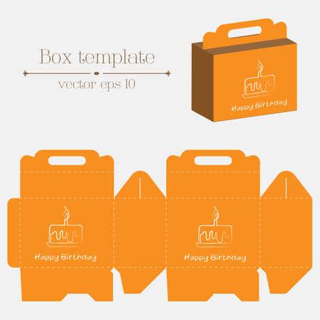 Vector box template. Orange happy birthday. Format eps10. Ilustração