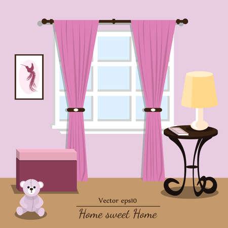 comfort: Vector interior house. Violet room. Format eps10. Illustration
