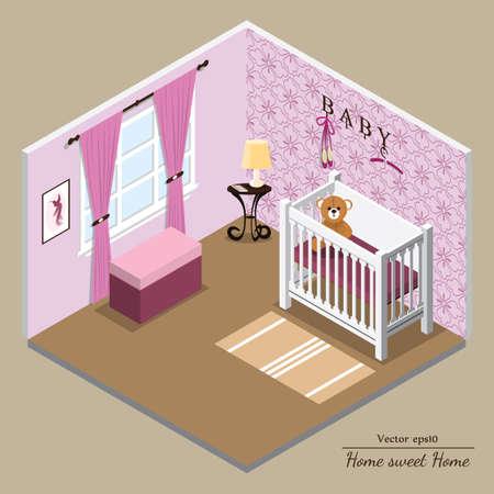 cutaway drawing: Vector 3D interior. Nursery pink. Format eps10.