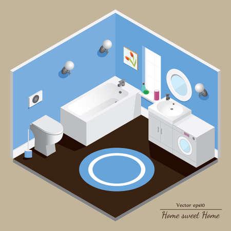 bathroom interior: Bathroom 3D interior. Blue background.