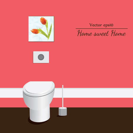 single seat: Toilet 3d. Red background.