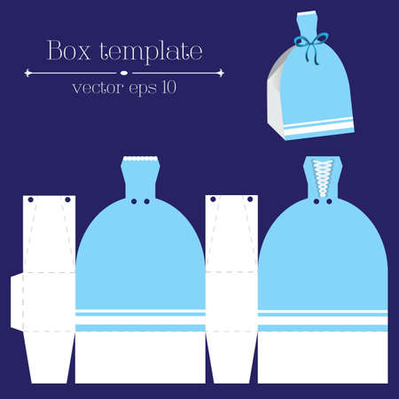 rags: Vector box template with blue glad rags Illustration