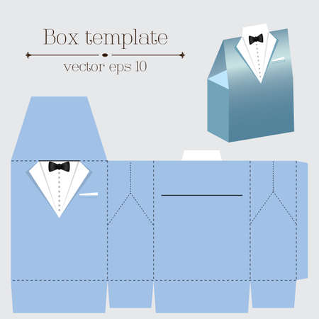 Vector tuxado box template on blue color Illustration