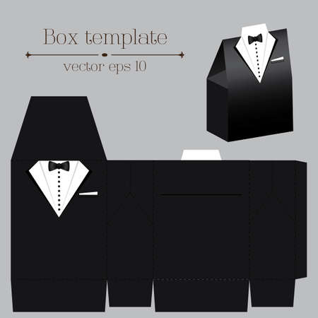 Vector tuxado box template on black color