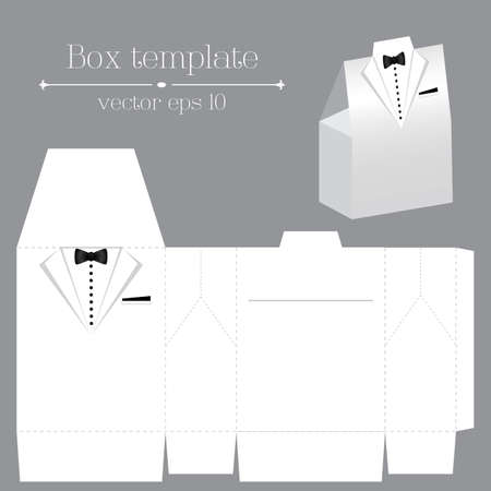 Vector tuxado box template on white color
