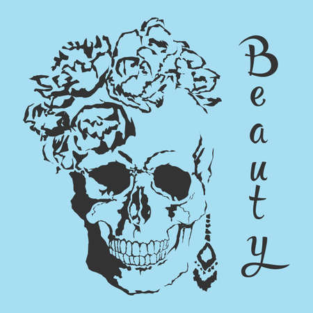 Vector skull with beauty style with format eps10.