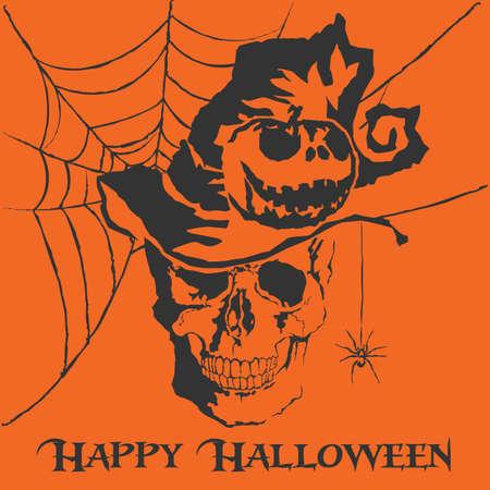 Vector skull with halloween with format eps10. Ilustração