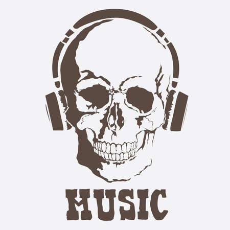 Vector skull with music style with format eps10. Ilustração