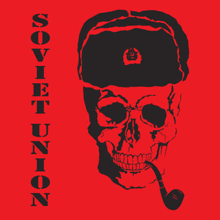 fur cap: Vector skull with Soviet Union with format eps10. Illustration