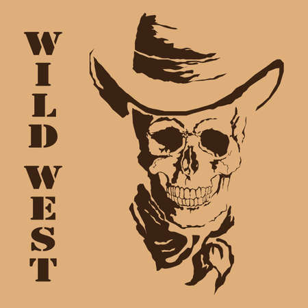 Vector skull with wild west with format eps10.