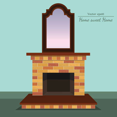 fireplace with home sweet home ahd antique mirror with format eps10.