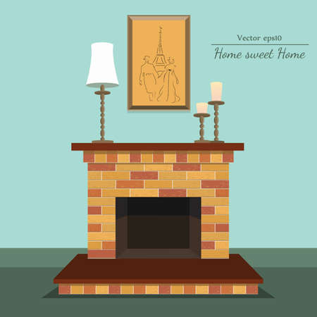 fireplace with home sweet home with painting and candle with format eps10.