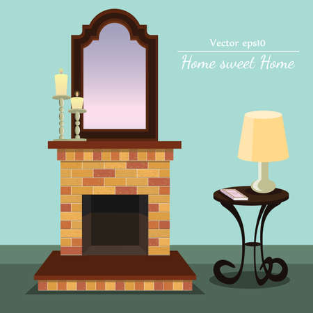 fireplace with Home sweet home with coffee table with format eps10.