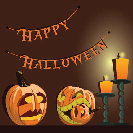 background with Halloween style with pumpkins and candles with format eps10.