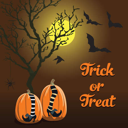 brown background with Halloween style and pumpkin. Trick or treat. Format eps10.